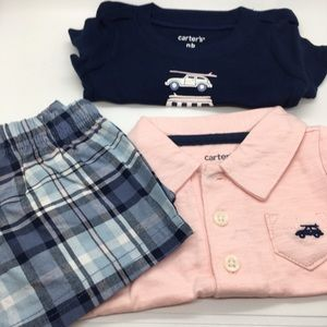 CARTERS NB NWT 3 piece short set